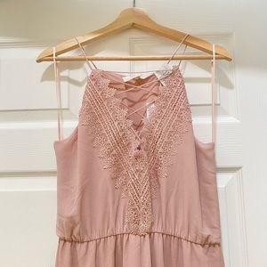 WAYF lace maxi dress rose pink